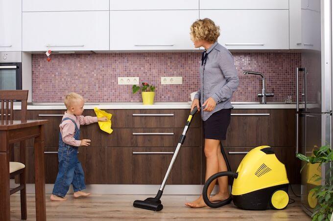 掃除機と親子
